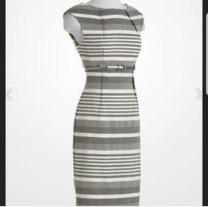Calvin Klein Dresses - Calvin Klein grey and white striped sheath dress